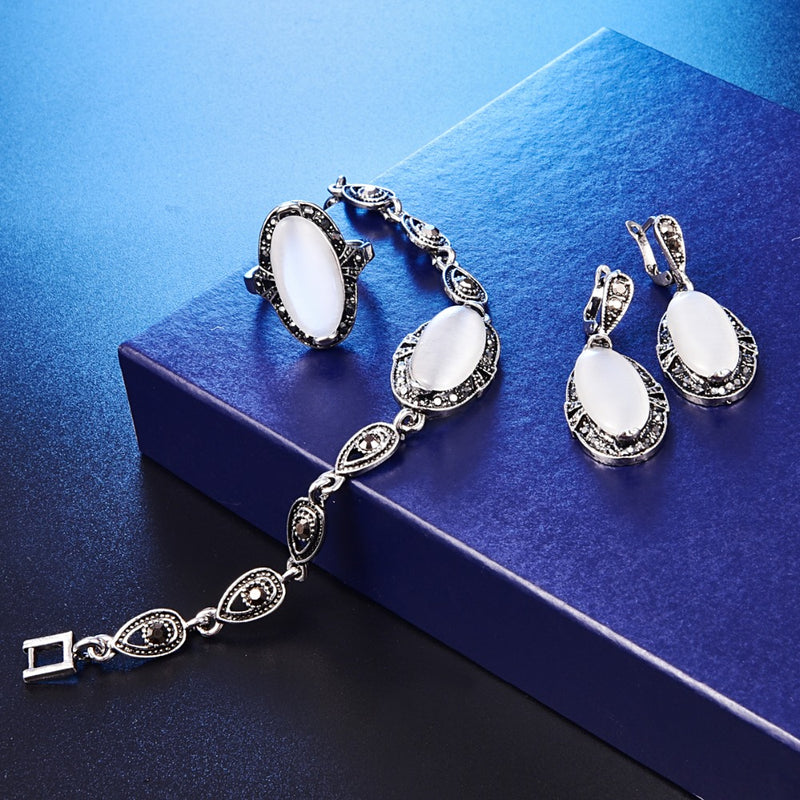 Exquisite Opal Jewelry Sets Necklace Bracelet Earrings Ring 4Pcs Cat Eye Stone Crystal Jewelry Set