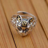 925 Sterling Silver Cat Rings For Women Animal Ring And Pendant Vintage Fine Jewelry