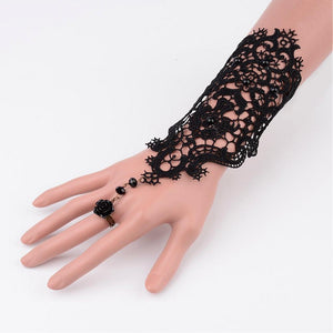 Fashion Women Gothic Style Vintage Rose Lace Bracelet  White/Black  Antique Bronze, 200mm; 17mm