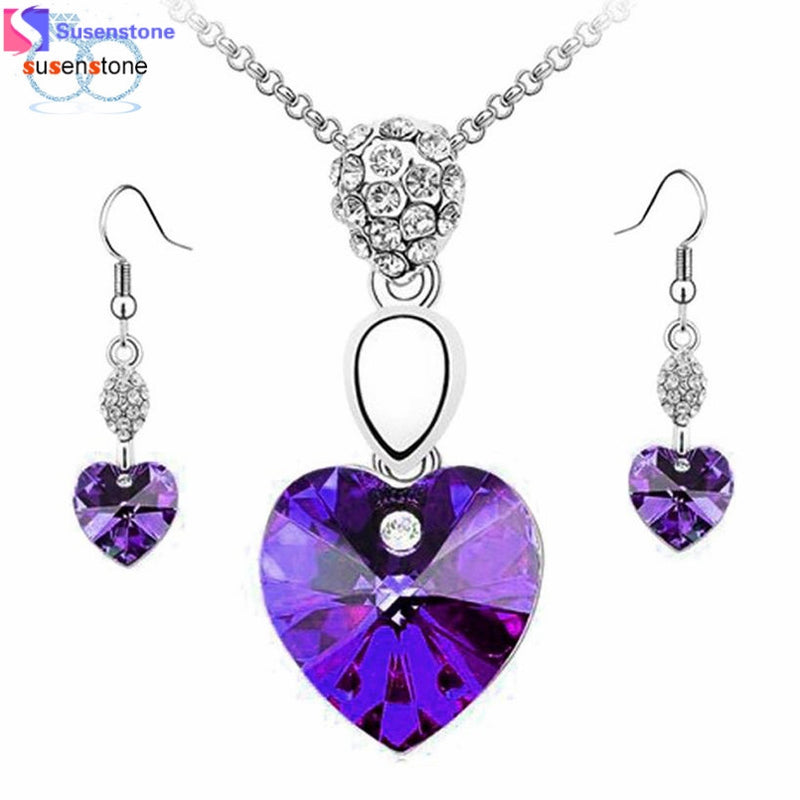 Girl Women Rhinestone Crystal Necklace Earring Jewelry Set