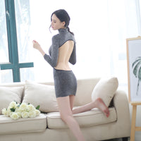 The high-end black silver shiny package hip dress uniform temptation lingerie Elastic