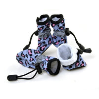 Pet Dog Cat Anti-Slip Rubber Sole Waterproof Leopard Boots 7 Size Dog Shoes Pets Supplies