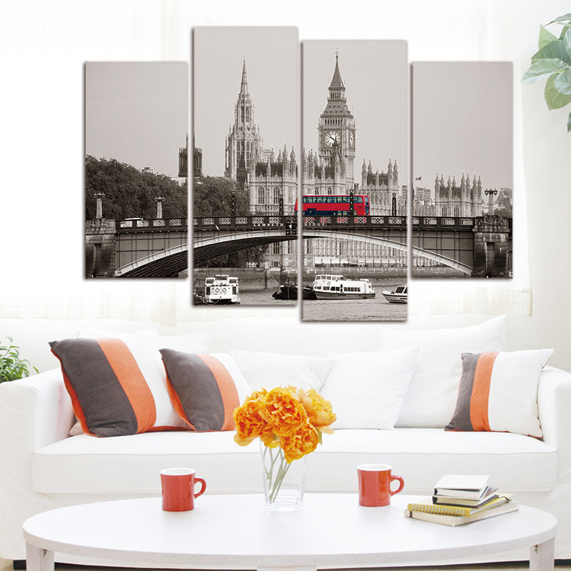 Canvas Print Oil Painting Home Decor Wall Art Picture 4 Piece London Red Bus No Frame