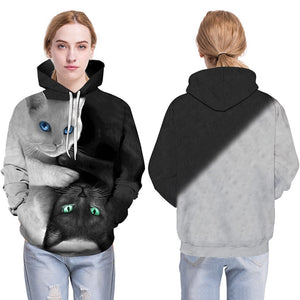 3D Hoodies Men Hooded Sweatshirts two cat 3D Print hoody Casual Pullovers Streetwear Tops