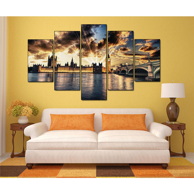 Canvas Painting Wall Art Picture 5 Panel Modern Printed London Cityscape Oil Bridge no frame