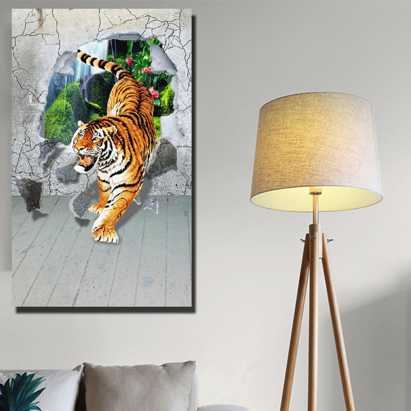 Tigers Down The Mountain Posters Wall 3D Animals Pop Art Canvas Unframed Wall Art Picture