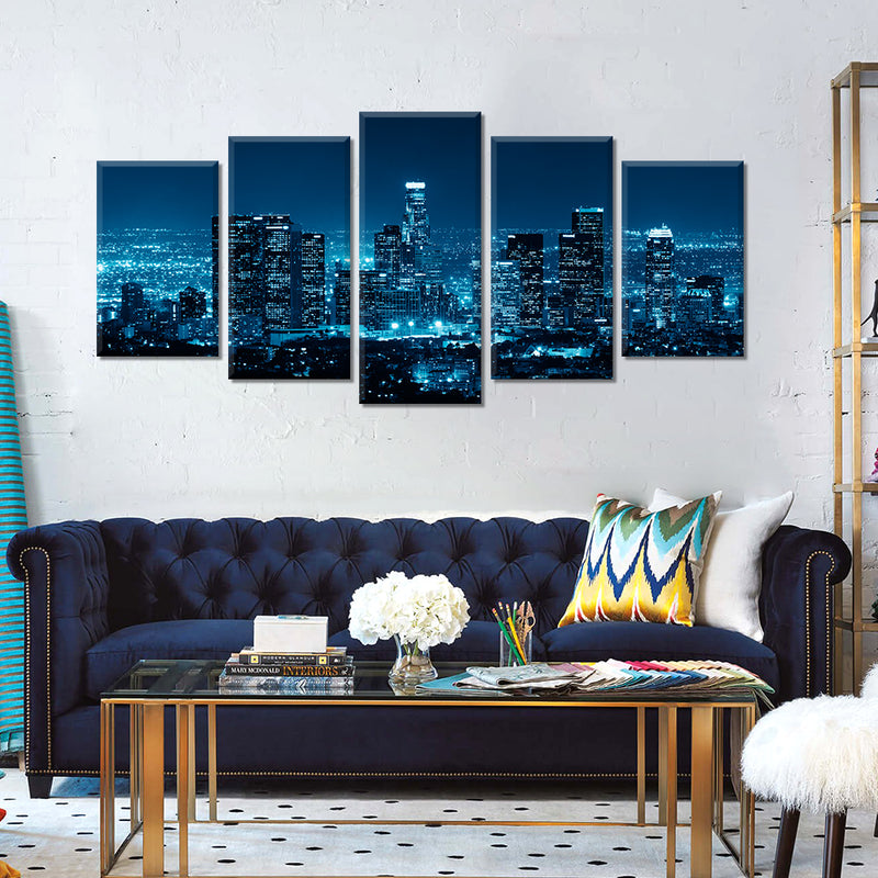 5 Panel  USA Los Angeles Panorama Cityscape Canvas Print Wall Art Picture Home Decor No Frame