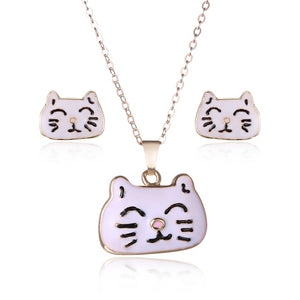 Fashion Charm Dog Cat Jewelry Set For Women Animal Pendant Stud Earrings Jewelry Set