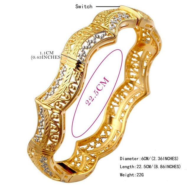 Metal Bangle Women Fashion Luxury Ethiopian Elegant Lucky Bracelets Red Gold Silver Color Jewelry