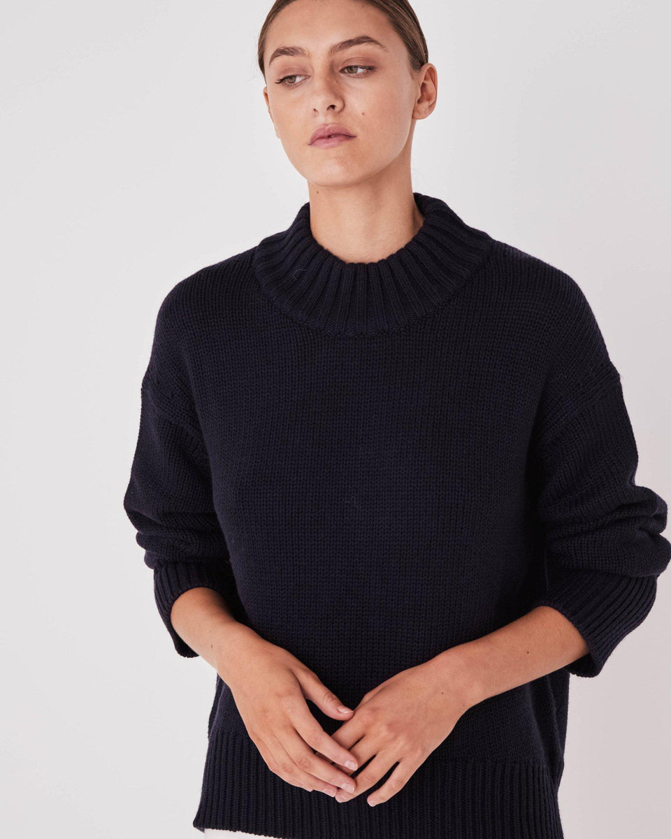 Mock Neck Knit True Navy - Saint Street