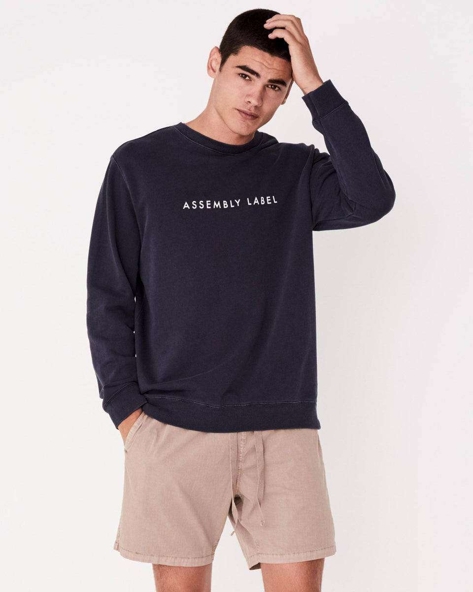 Logo Fleece Worn Navy - Saint Street