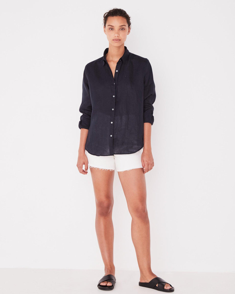 Xander Linen Shirt True Navy - Saint Street