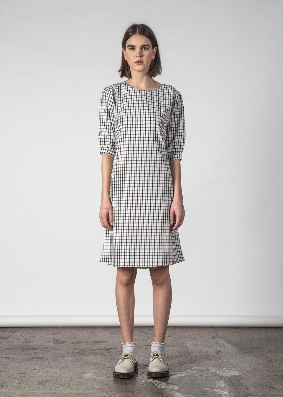 Moon Dress Onyx Check - Saint Street