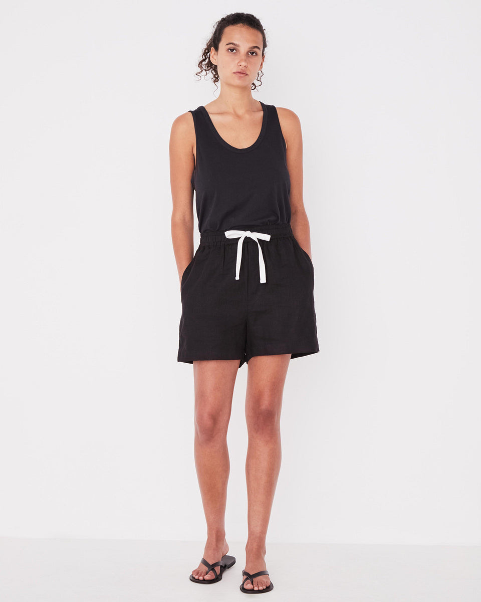 Ease Linen Short Black - Saint Street