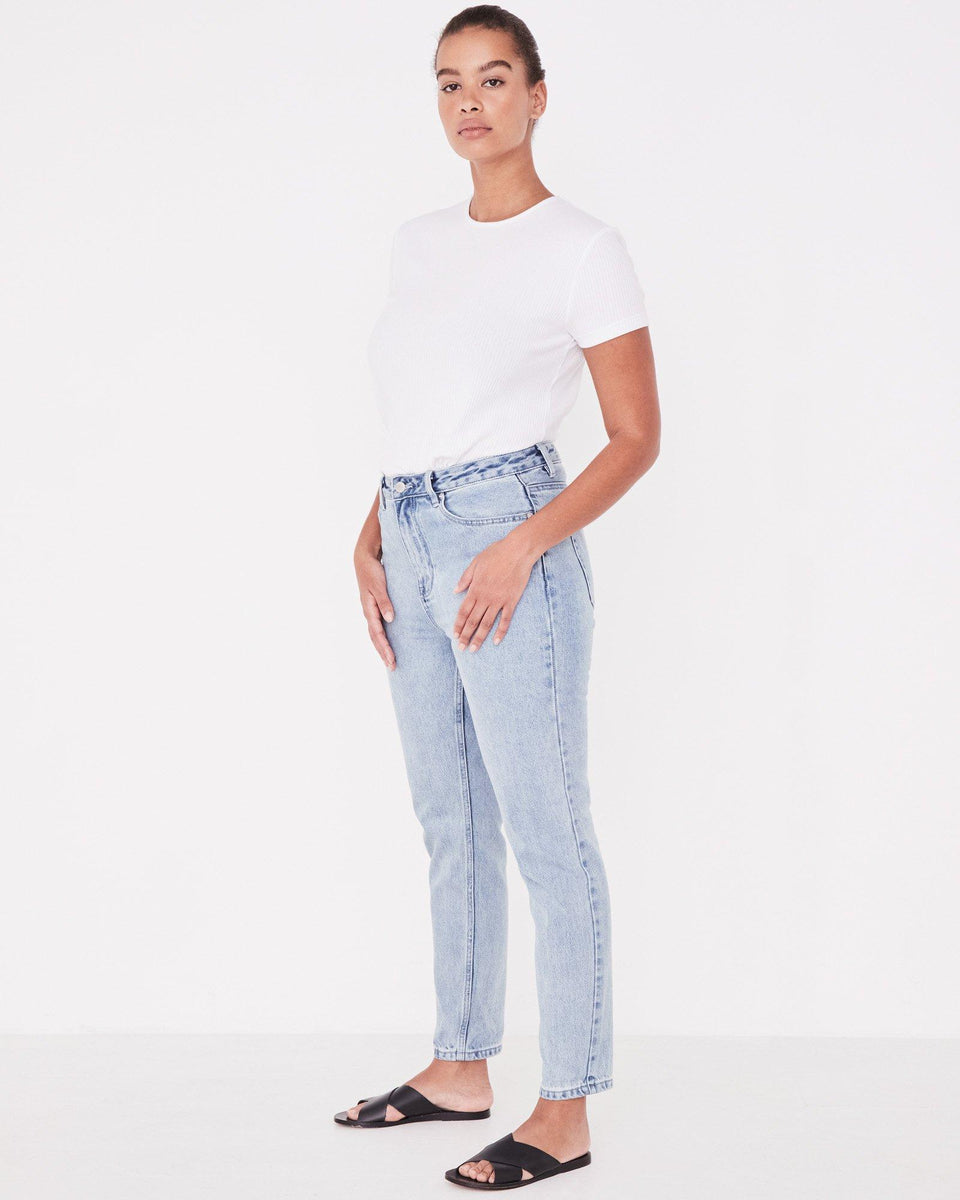 High Waist Rigid Jean Stone Blue - Saint Street
