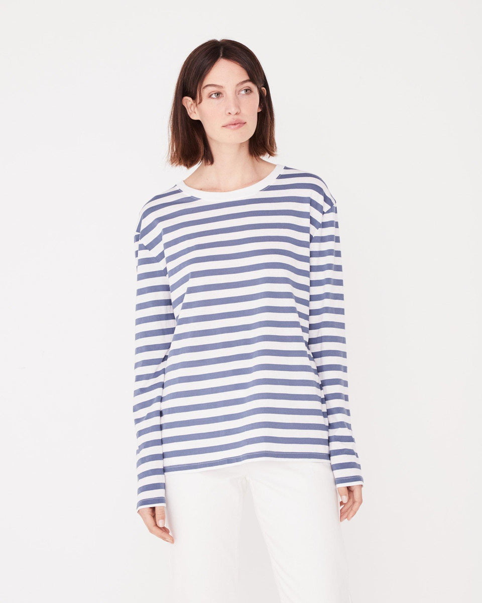 Bay Long Sleeve Tee Newport Blue Stripe - Saint Street