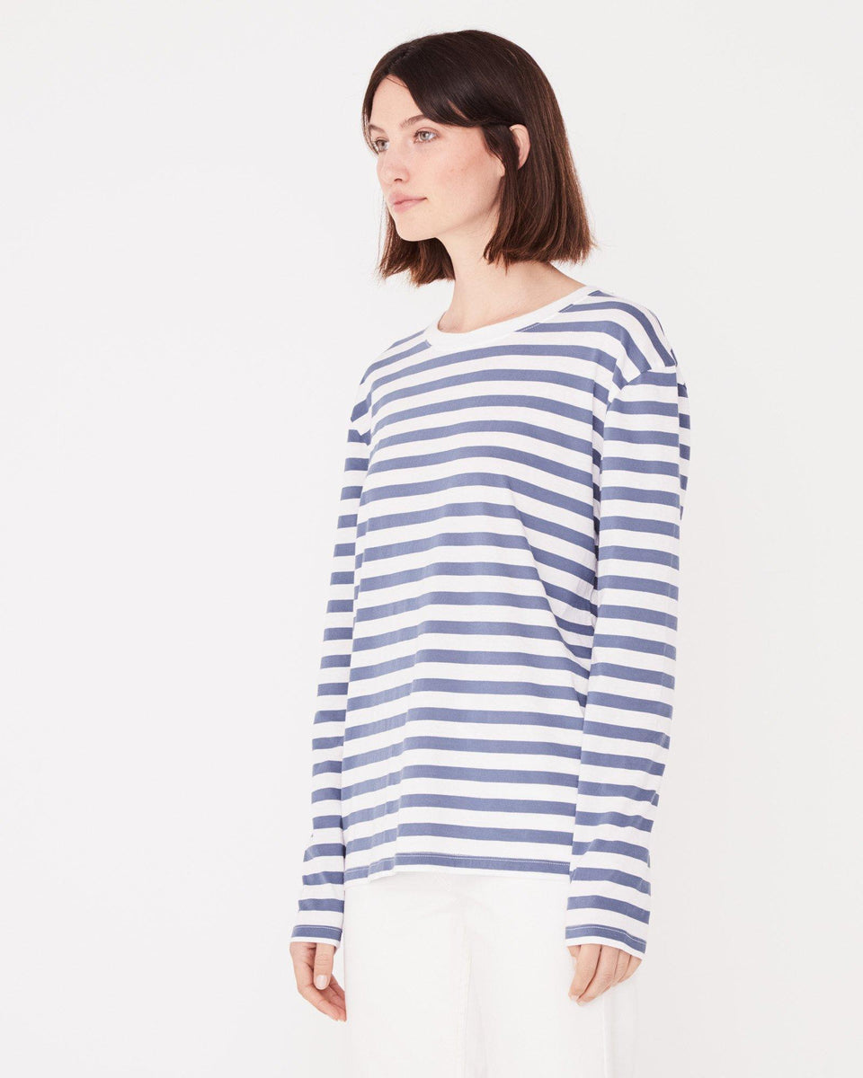 Bay Long Sleeve Tee Newport Blue Stripe