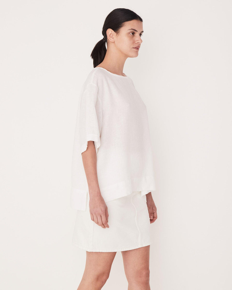 Boxy Linen Top White - Saint Street