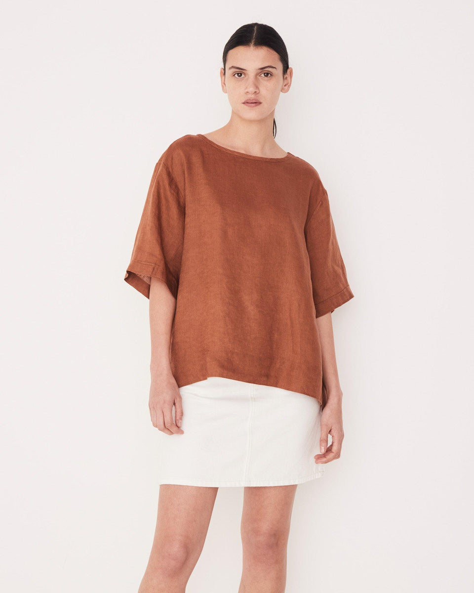 Boxy Linen Top Terracotta - Saint Street
