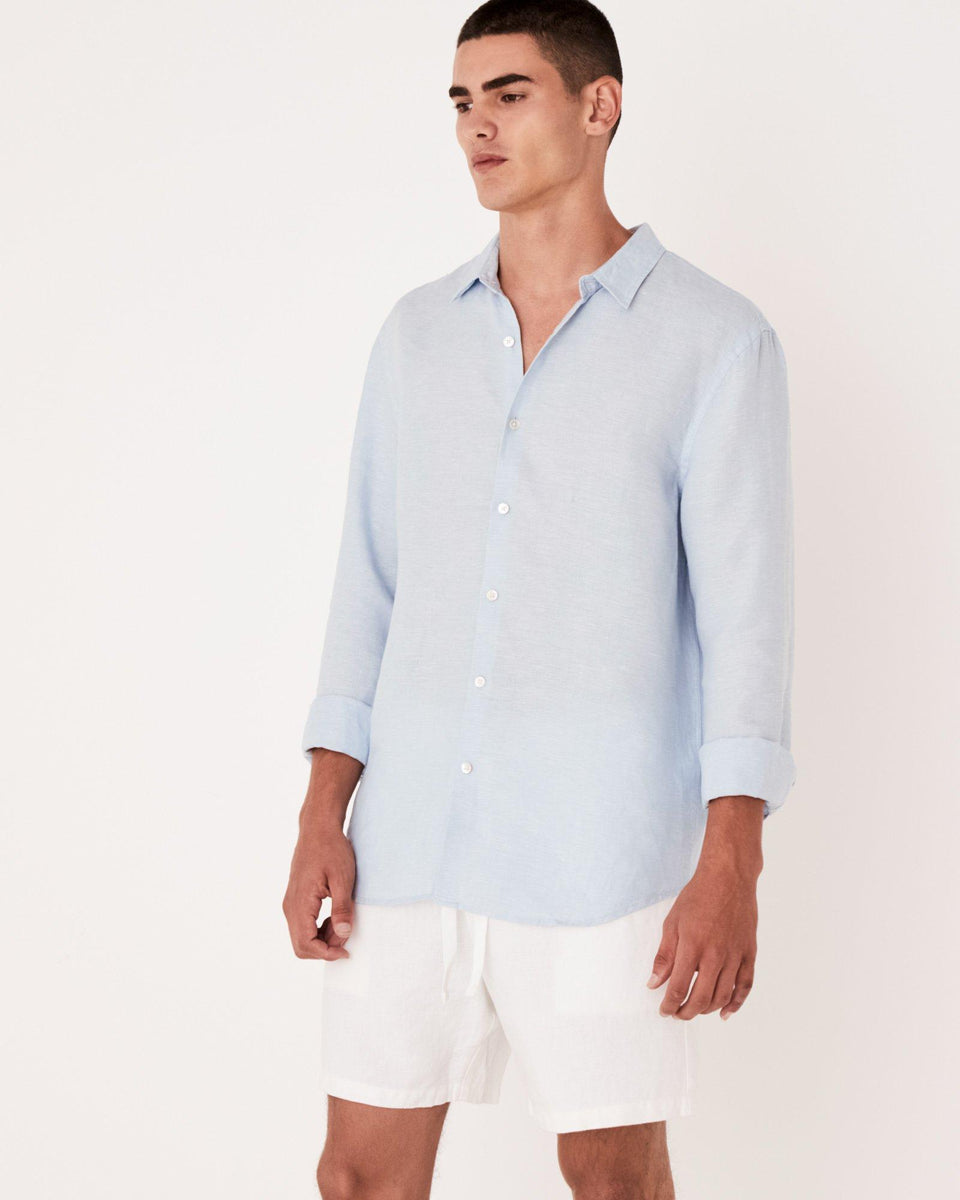 Casual Long Sleeve Shirt Washed Blue