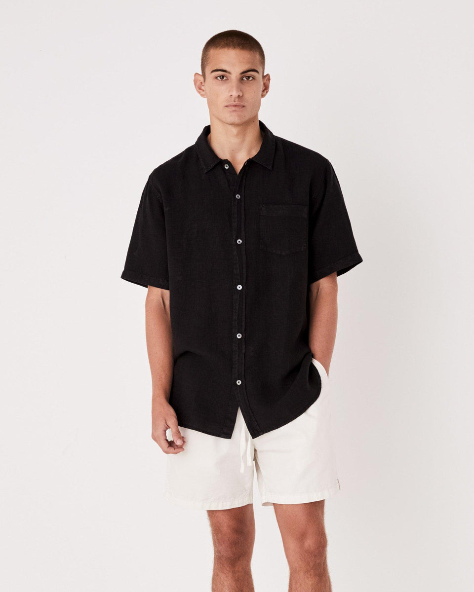 Estate Linen S/S Shirt Black