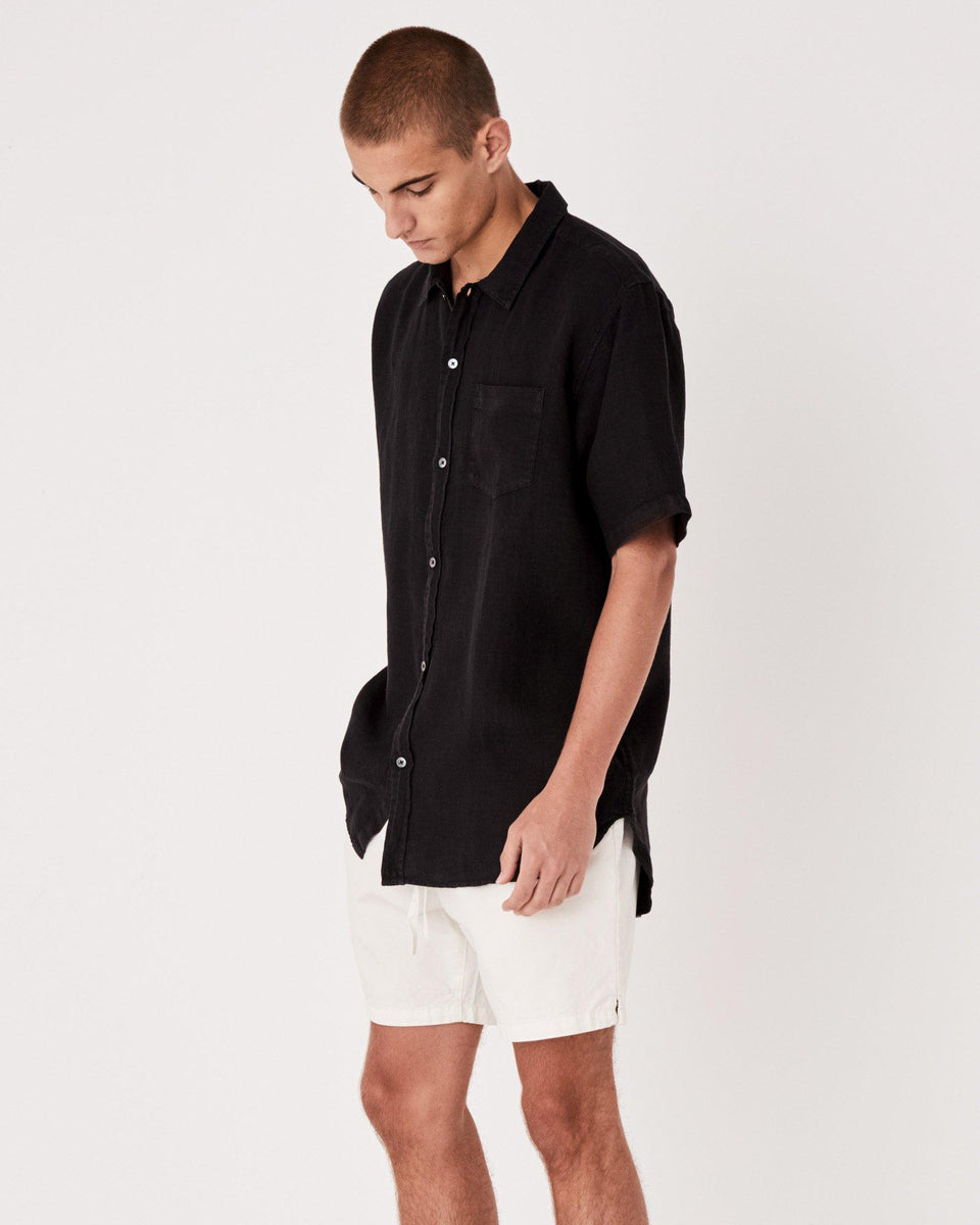 Estate Linen S/S Shirt Black - Saint Street
