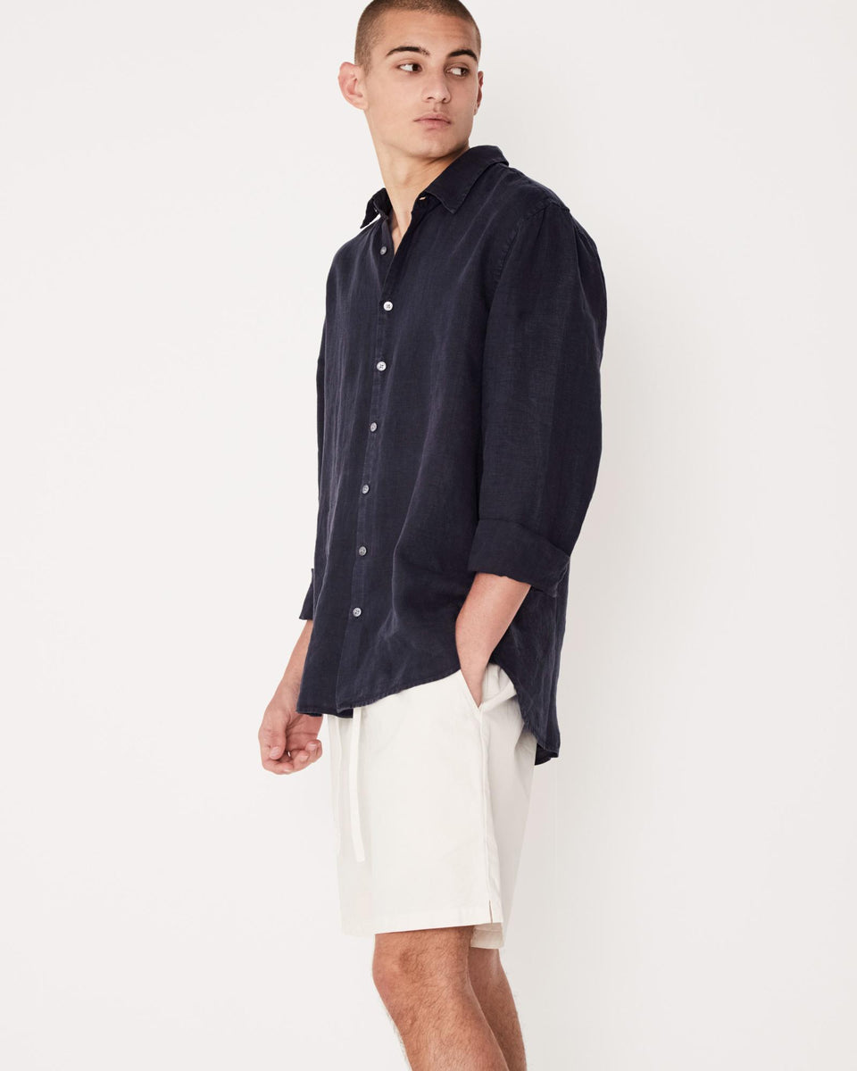 Casual Long Sleeve Shirt Worn Navy