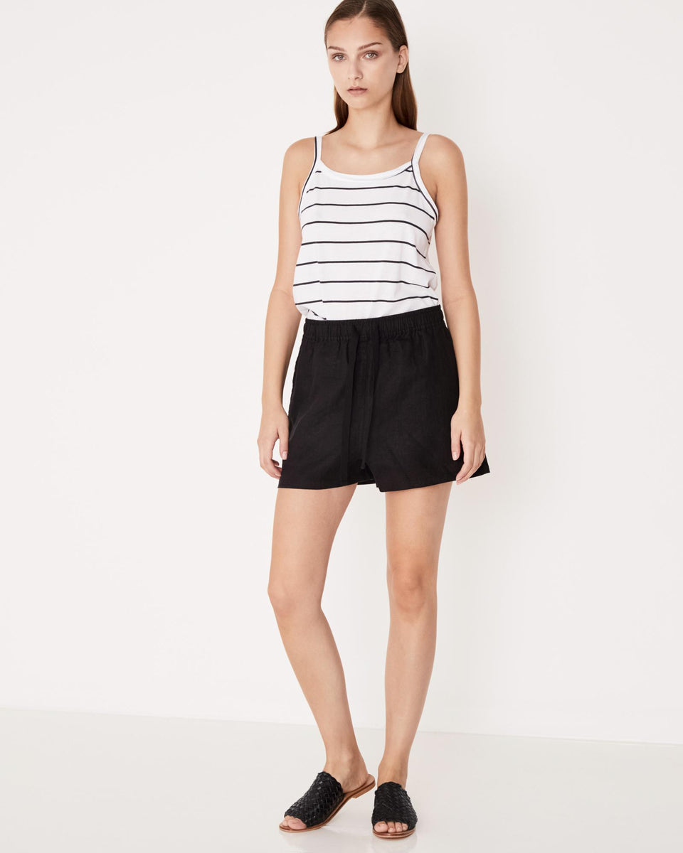 Basis Linen Short Black - Saint Street