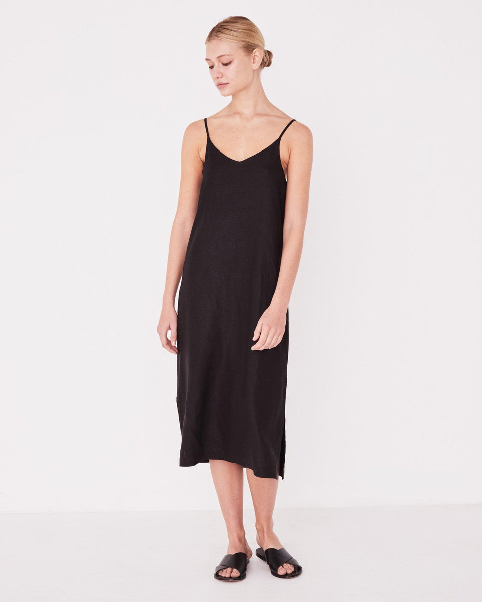 Linen Slip Dress Black - Saint Street
