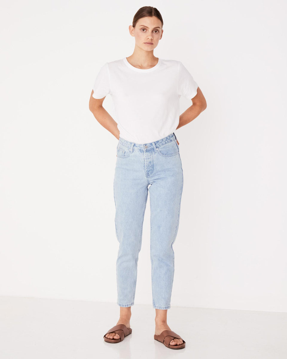 High Waisted Rigid Jean Pacific Blue - Saint Street