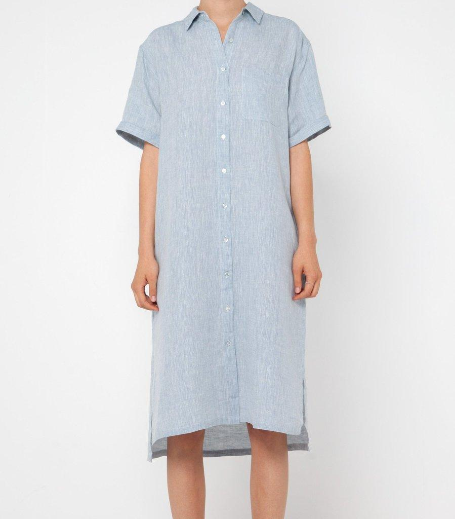 Resort S/S Shirt Dress Washed Blue - Saint Street