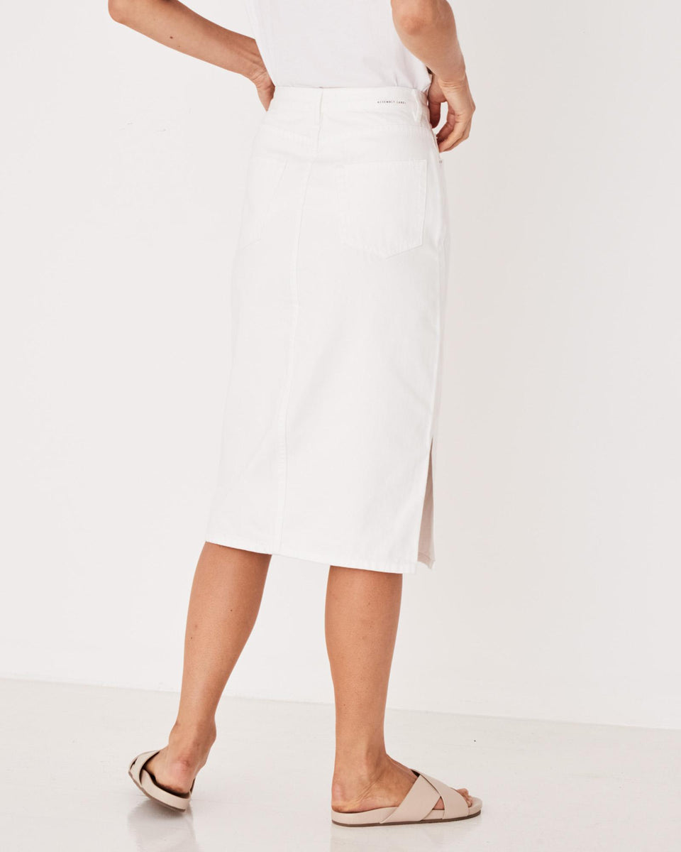 Mid Length Rigid Denim Skirt Birch - Saint Street
