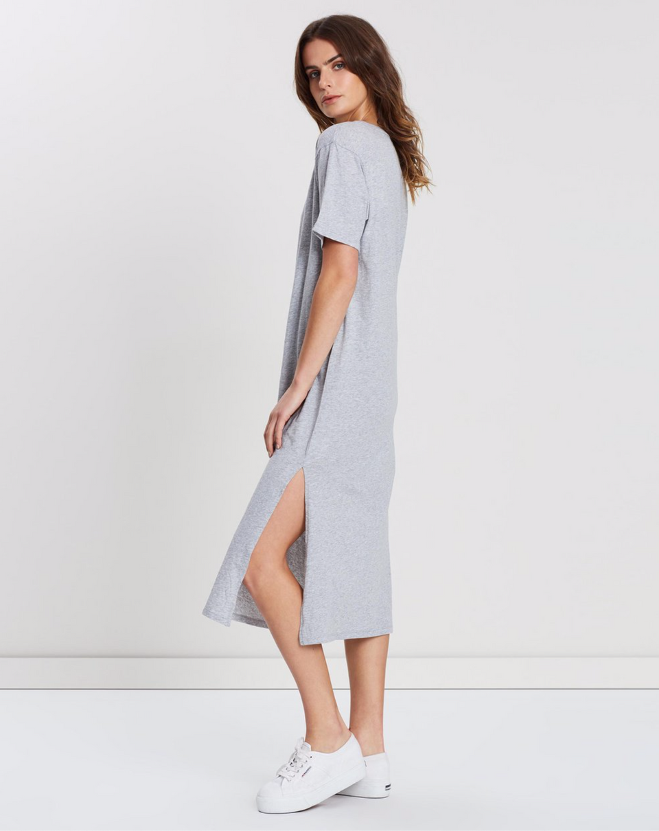 Essential Cotton Tee Dress Grey Marle - Saint Street