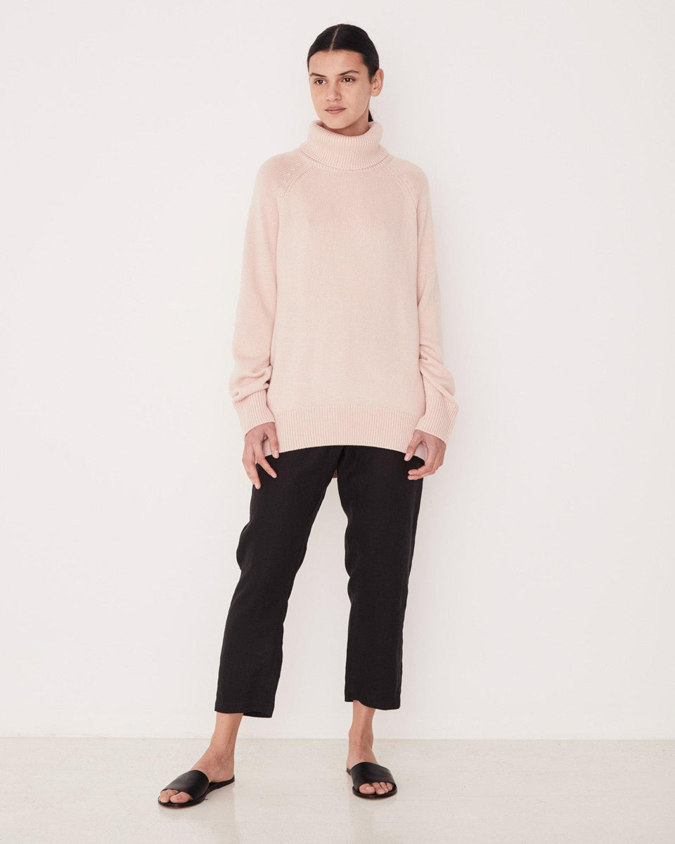 Ribbed Roll Neck Knit Rosewater - Saint Street