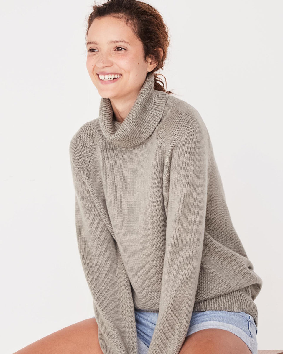 Ribbed Roll Neck Knit Sea Grass - Saint Street
