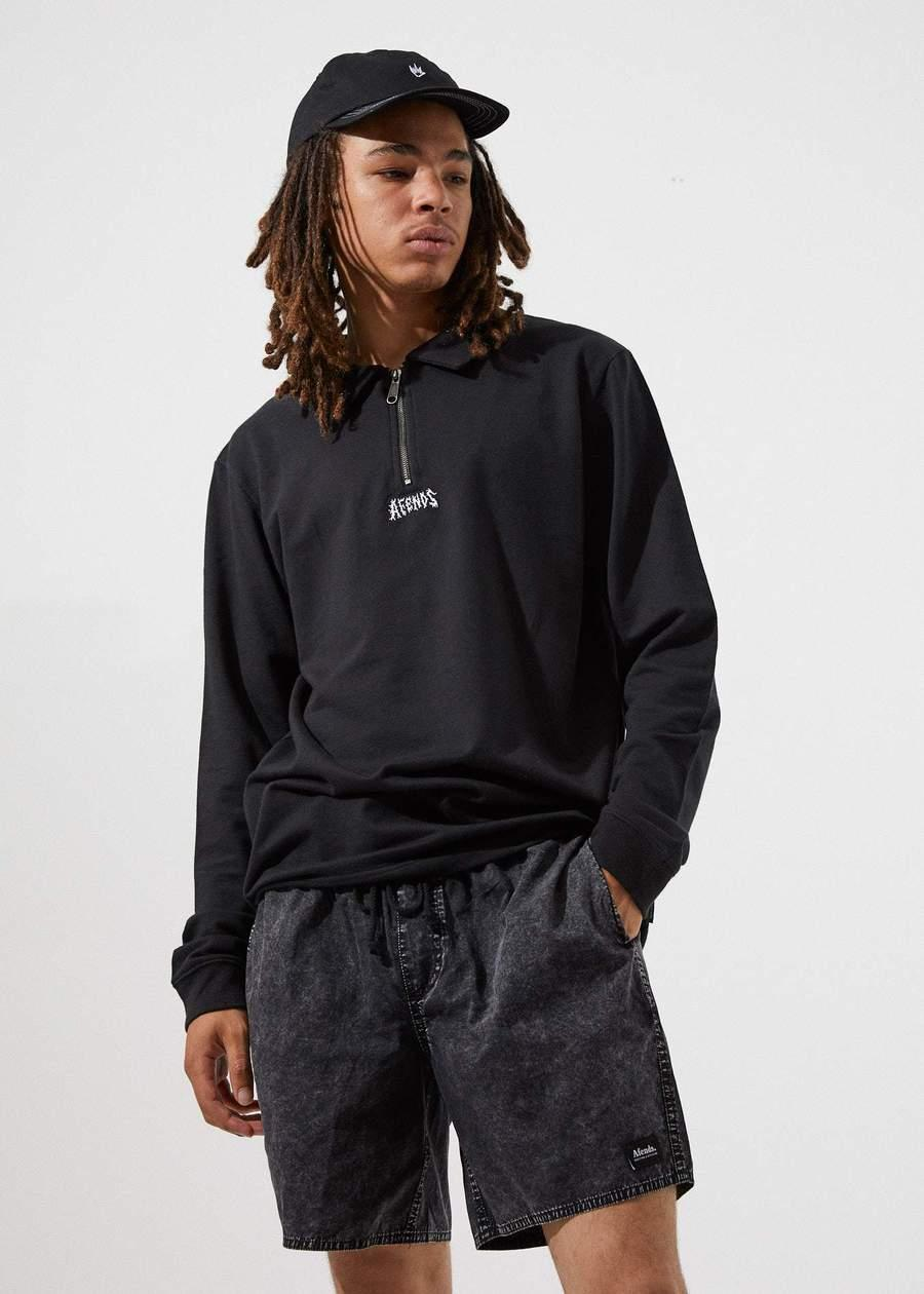 Trash - Half Zip Long Sleeve Polo