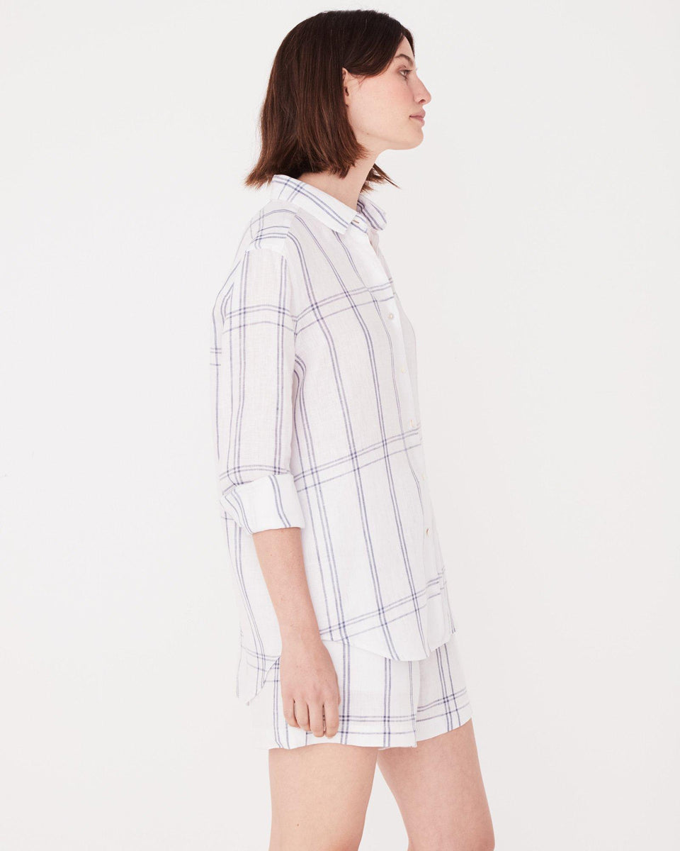 Xander Long Sleeve Shirt True Navy Check - Saint Street