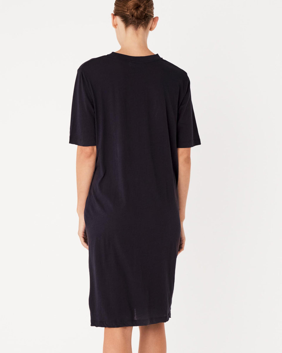 Lightweight Cotton Tee Dress Worn Navy - Saint Street