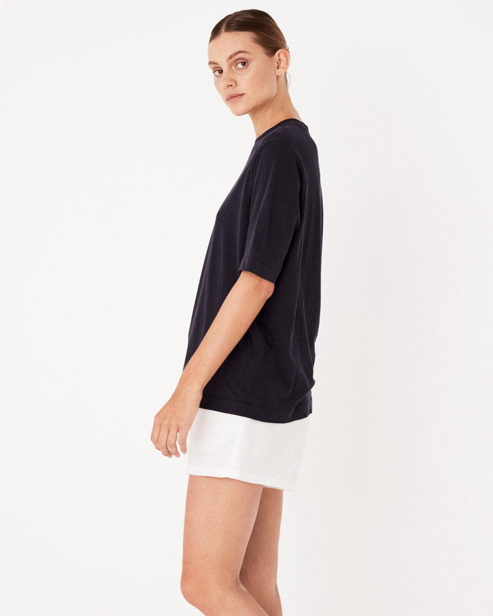 Lightweight Cotton Tee Worn Navy - Saint Street