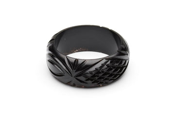 Wide Black Heavy Carve Fakelite Bangle