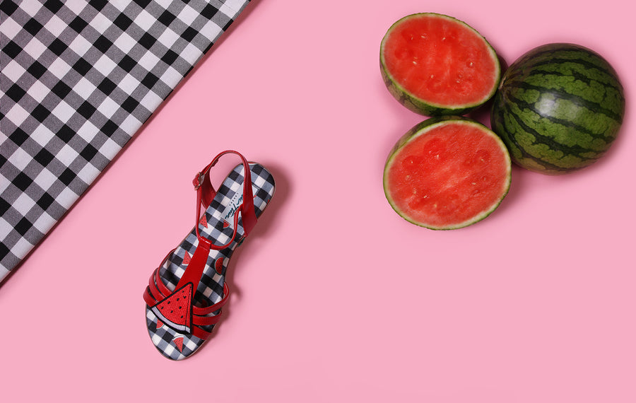 Lottie Gingham Melon Sandal