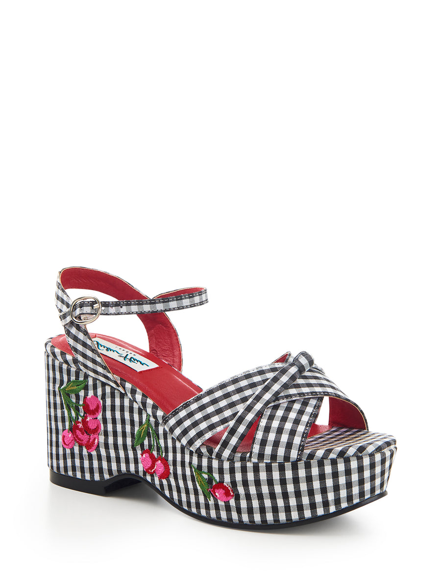 Twinnie Gingham Cherry Wedge