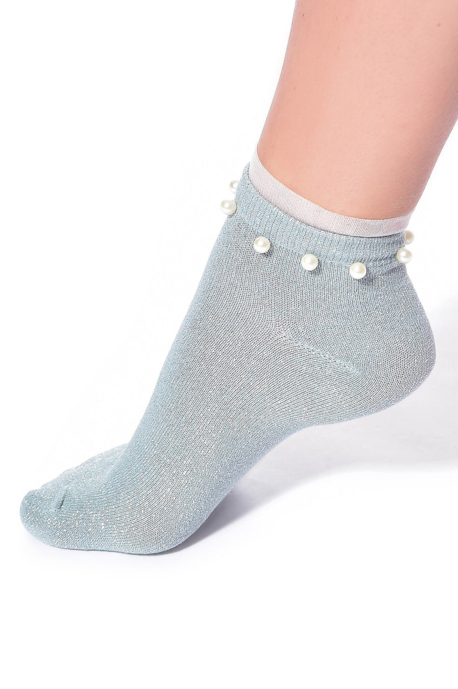 GLITTER ANKLE SOCKS WITH PEARLS AND FRILL (TEAL BLUE)