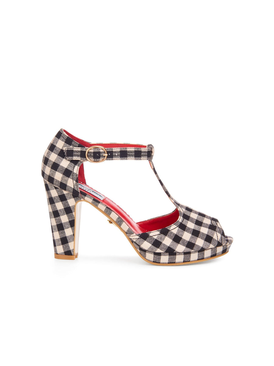 Jinny Gingham T-bar High Heel