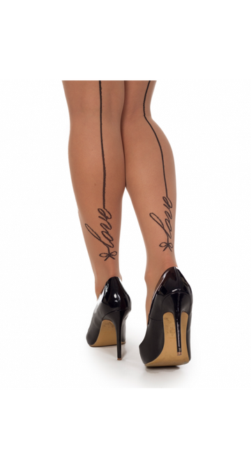 SIGNATURE LOVE SEAMED TIGHTS (BLACK/NUDE)