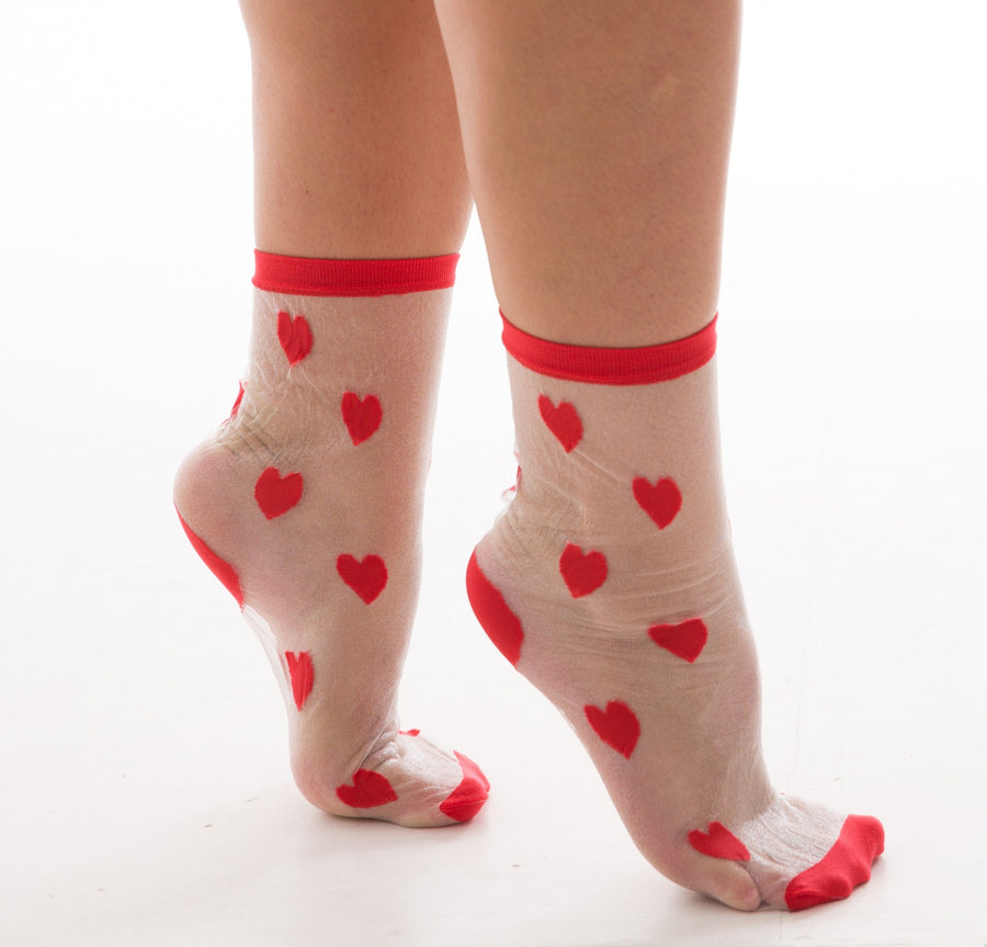 MESH SOCKS WITH RED HEARTS