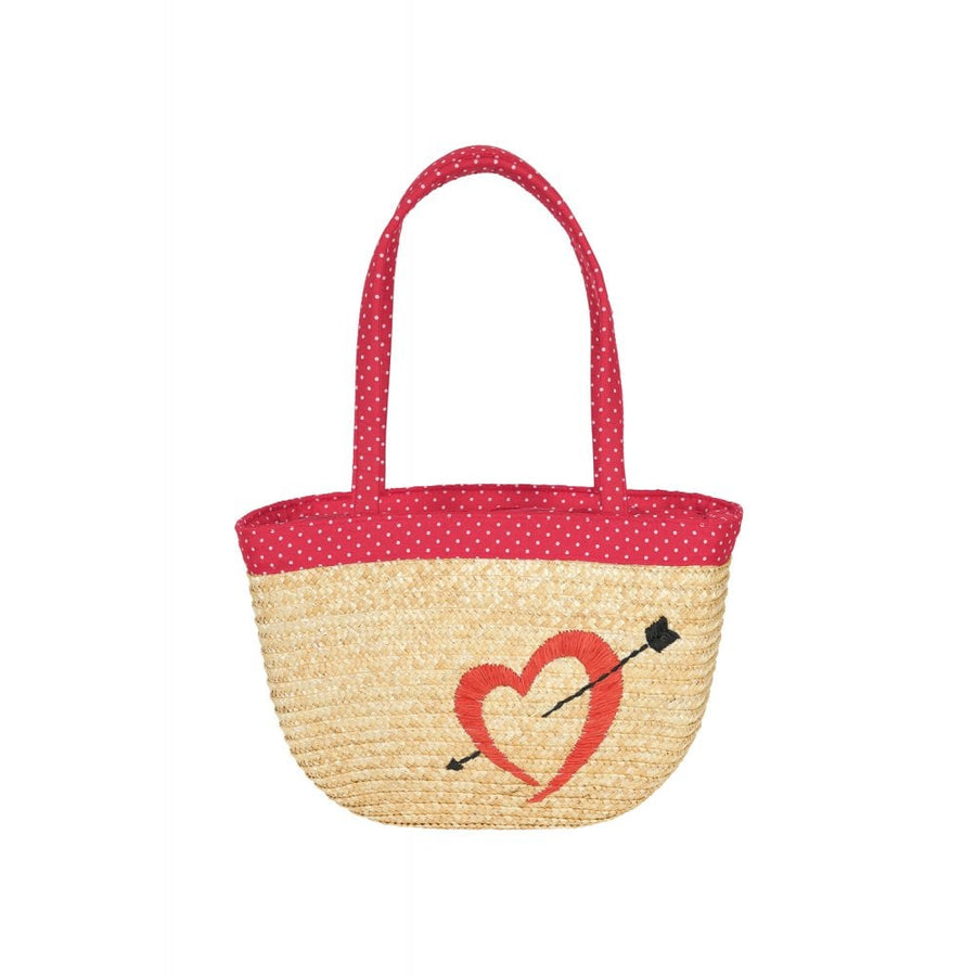 MIMI HEART STRAW BAG