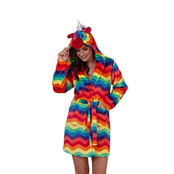 CONTINENTAL RAINBOW UNICORN LOUNGING ROBE
