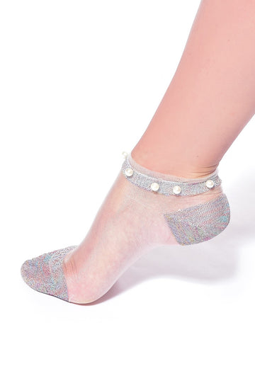 SHEER ANKLE SOCKS WITH GLITTER AND PEARL BEADING (MULTICOLOURED)