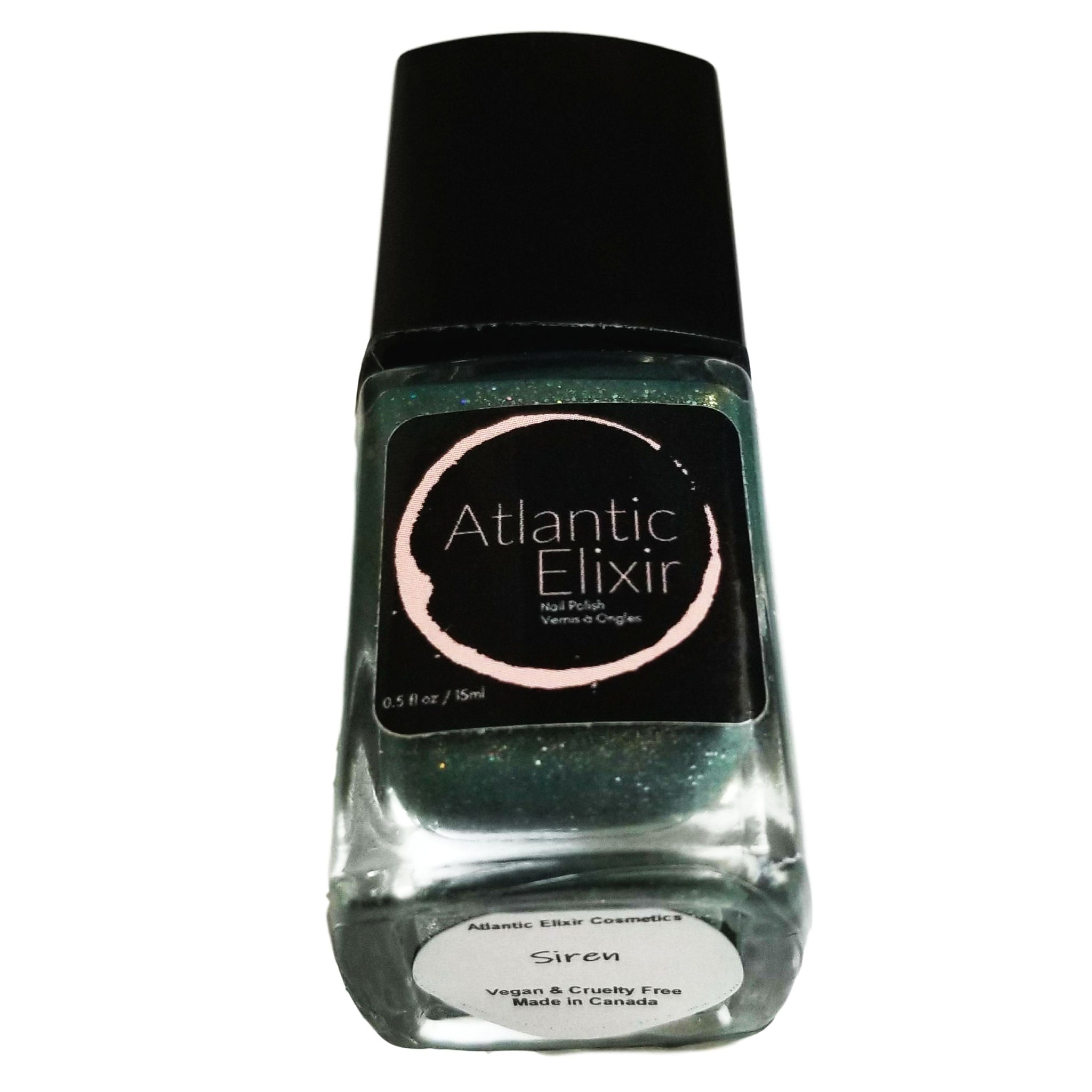 Siren | Artisan Nail Polish by Atlantic Elixir | Beware the song of the siren, sailor; for she'll lure you out to sea; and your spirit shall rest upon the waters, humming her dangerous melody. A deep blue combined with smoky green are the base tones of this shade, topped off with holographic and bold silver sparkle!